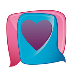 Colorful pair dialog box with heart shape design vector