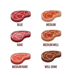 Degree of steak readiness icons set vector image