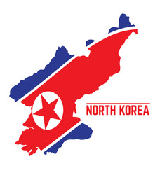 flag and map of north korea vector image