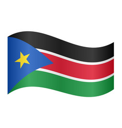 flag of south sudan waving on white background vector image