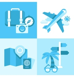 Flat icon set of travel symbols vector image