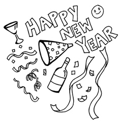 Happy new year doodles vector