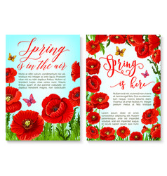 Hello spring greeting card with flower frame vector