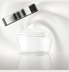Hygienic cream in glass jar vector