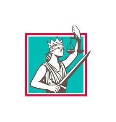Lady Justice Raising Scales Sword Square Retro vector image vector image