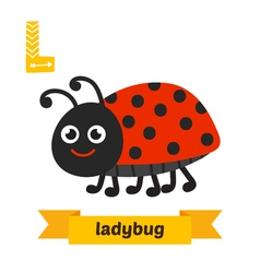 Ladybug L letter Cute children animal alphabet in vector image