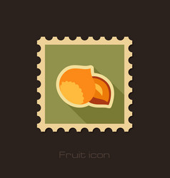 Nut flat stamp fruit vector
