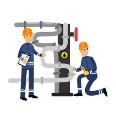 oilmen characters working on an oil pipeline oil vector image