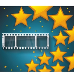 Old cinema banner with gold stars and film tape vector
