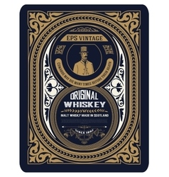 Old whiskey label with vintage frames vector