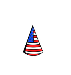 Party hat in the usa flag colors icon cartoon vector