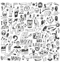 Politics - doodles set vector