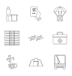 Refugee status icons set outline style vector