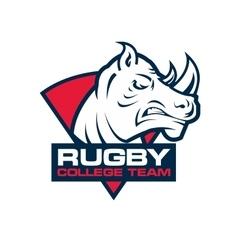 Rhino head sport logo rugby badge template vector