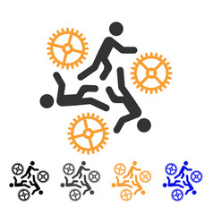 Running persons for gears icon vector