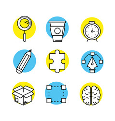 Set creative process with ideas icons design vector