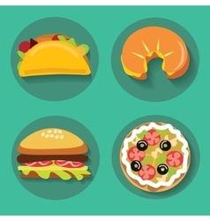 Set of icons fast food pizza croissant burger vector image vector image