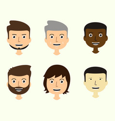 set of mens faces expressing positive emotions vector image vector image