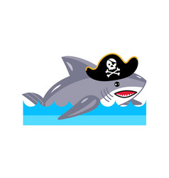 Shark in pirate hat icon vector