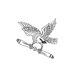 Shrike clutching propeller blade black and white vector
