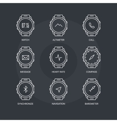 Smart watch functions icons set on dark background vector image