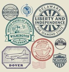 Stamp set Delaware vector image