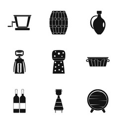 wine company icon set simple style vector image