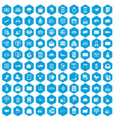 100 postal service icons set blue vector