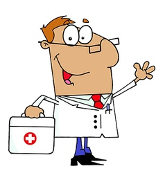 Doctor Man Carrying His Medical Bag vector image