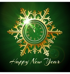 Happy New Year with Golden snowfake shaped clock vector image