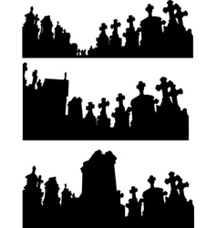 Collection of graveyard silhouettes in black vector