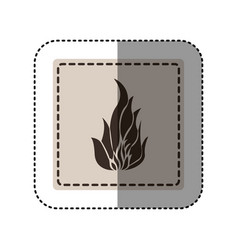 sticker monochrome square with icon flame vector image