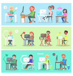 employees in office at computer set vector image