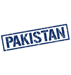 Pakistan blue square stamp vector