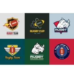 Set of vintage color rugby championship logos and vector