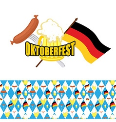 Set for oktoberfest logo and pattern of rhombus vector