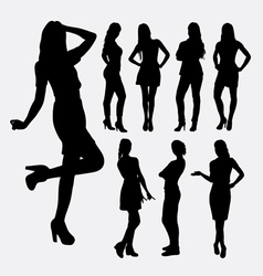 Girl casual pose silhouettes vector