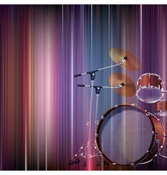 Abstract blue music background with drum kit vector