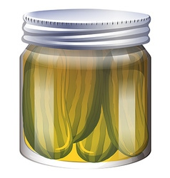 Pickles in clear jar vector