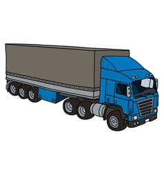 Blue cover semitrailer vector