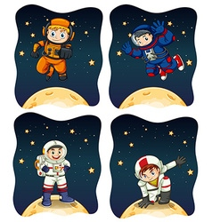 Astronaunts flying in the space vector