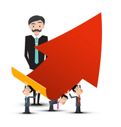Business people with red arrow vector