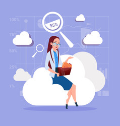 Business woman sitting on cloud search data in vector