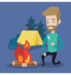 Businessman roasting marshmallow over campfire vector