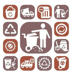 Color garbage icons vector