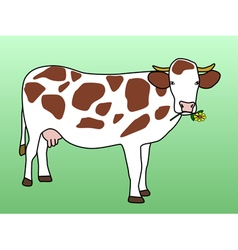 Cow grazing flower vector