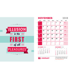 Desk calendar template for 2018 year november vector