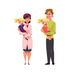 Doctor pediatrician father holding little girl vector
