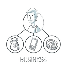 Doodle icon design business icon draw concept vector image vector image