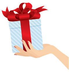 elegant woman hand giving a present close up vector image vector image